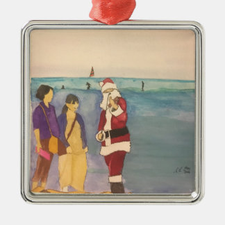 Watercolour painting christmas in Hawaii ornament