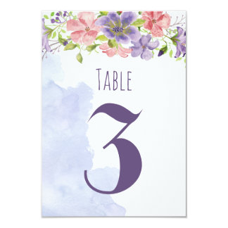 Watercolour Pastel Floral Wedding Table Numbers Card