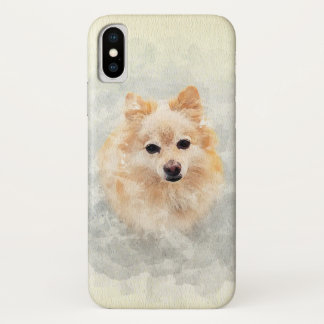 Watercolour Pastel Ginger Pomeranian Dog Design iPhone X Case