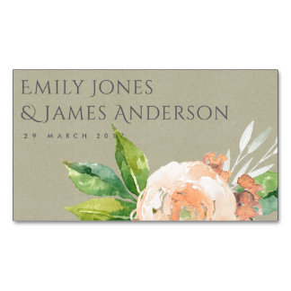 WATERCOLOUR PEACH FLOWER FOLIAGE SAVE THE DATE Magnetic BUSINESS CARD