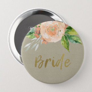 WATERCOLOUR PEACH FLOWER GREEN FOLIAGE GOLD BRIDE 10 CM ROUND BADGE