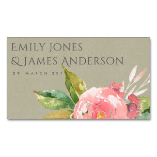 WATERCOLOUR PINK FLOWER FOLIAGE SAVE THE DATE Magnetic BUSINESS CARD