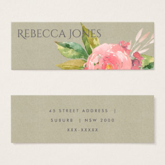 WATERCOLOUR PINK FLOWER GREEN FOLIAGE ADDRESS MINI BUSINESS CARD