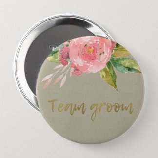 WATERCOLOUR PINK FLOWER GREEN FOLIAGE TEAM GROOM 10 CM ROUND BADGE