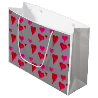 Watercolour Pink Hearts Gift Bag, Large Gift Bag