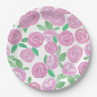 Watercolour , pink roses paper plate