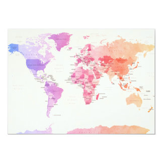 Watercolour Political Map of the World 13 Cm X 18 Cm Invitation Card