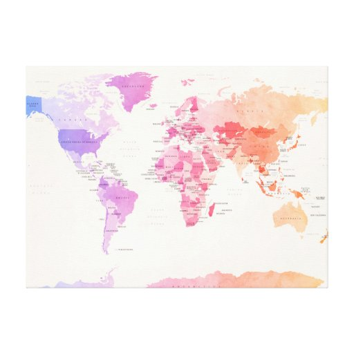 Watercolour Political Map of the World Gallery Wrap Canvas