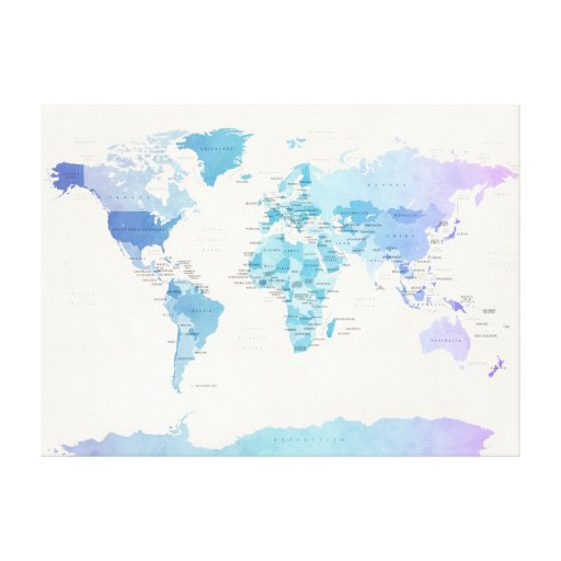 Watercolour Political Map of the World Gallery Wrapped Canvas