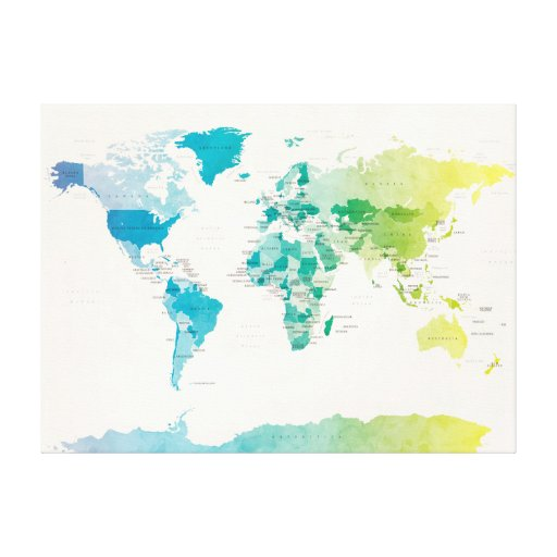 Watercolour Political Map of the World Canvas Prints