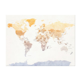 Watercolour Political Map of the World Canvas Print