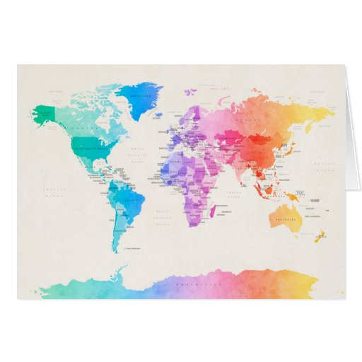 Watercolour Political Map of the World Cards
