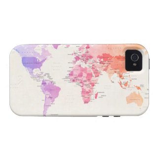 Watercolour Political Map of the World Case-Mate iPhone 4 Cases