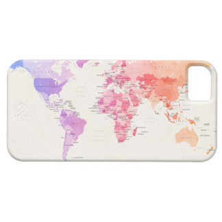 Watercolour Political Map of the World iPhone 5 Cases