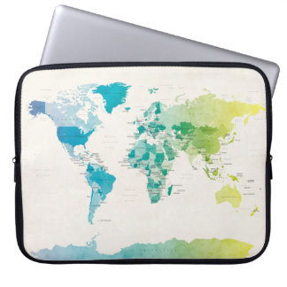 Watercolour Political Map of the World Laptop Computer Sleeve
