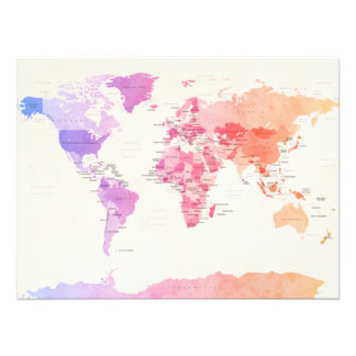 Watercolour Political Map of the World Photo Art