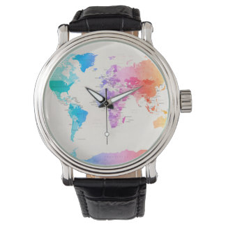 Watercolour Political Map of the World Watch