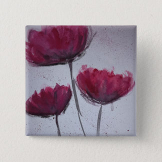Watercolour Poppy Badge