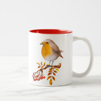 watercolour robin wild bird berries coffee mug