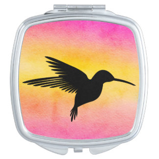 Watercolour Textured Hummingbird Colibri Mirror Makeup Mirrors