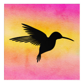 Watercolour Textured Hummingbird Colibri Wallart Acrylic Print