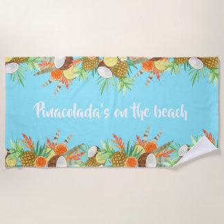 Watercolour Tropical Pinacolada's Beach Towel