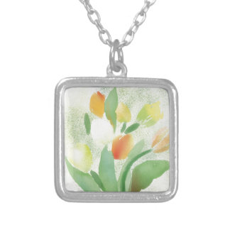 Watercolour tulip flowers, original artwork silver plated necklace