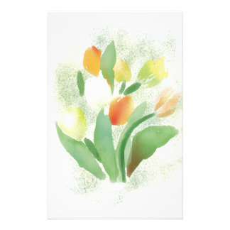 Watercolour tulip flowers, original artwork stationery