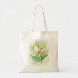 Watercolour tulip flowers, original artwork. tote bag