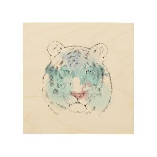 Watercolour White Tiger Wood Canvas
