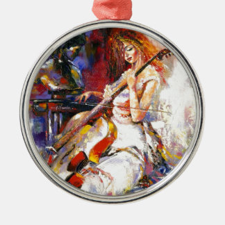Watercolour Woman Playing Chello Metal Ornament