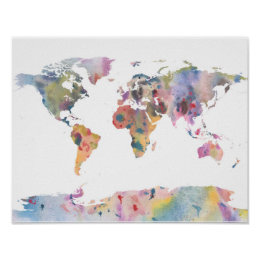 World map posters prints zazzle watercolour world map abstract art poster gumiabroncs Images