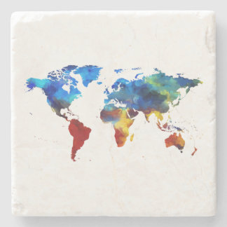 Watercolour World Map Marble Stone Coaster