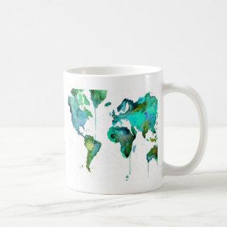 Watercolour world of the map coffee mug