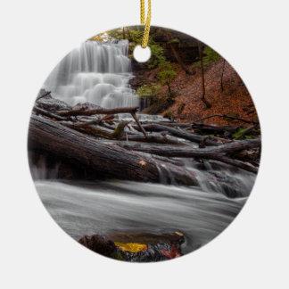 Waterfall 3 ceramic ornament