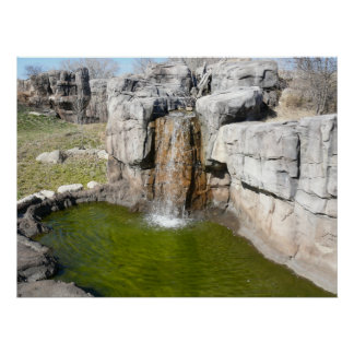 Waterfall and watering pond for zoo Gorillas Poster