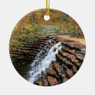 Waterfall at Laurel Hill State Park II Round Ceramic Decoration