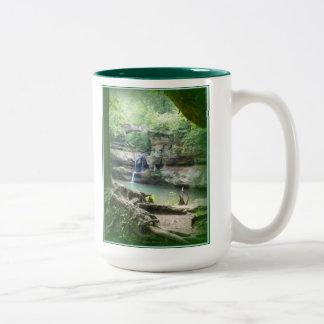 Waterfall at Old Man's Cave Two-Tone Coffee Mug