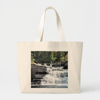 Waterfall Cascades at Moxie Falls West Forks Maine Large Tote Bag