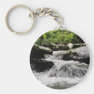 Waterfall Cascades Great Smoky Mountains Basic Round Button Key Ring