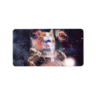 waterfall cat - cat fountain - space cat address label