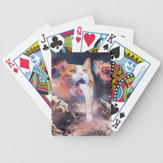waterfall cat - cat fountain - space cat bicycle playing cards
