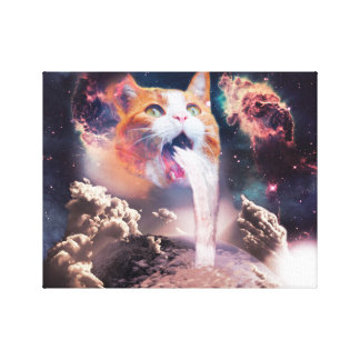 waterfall cat - cat fountain - space cat canvas print