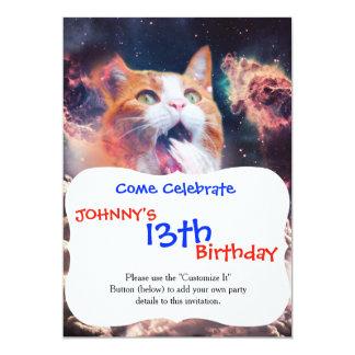 waterfall cat - cat fountain - space cat card