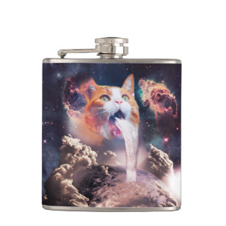 waterfall cat - cat fountain - space cat hip flask