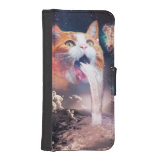 waterfall cat - cat fountain - space cat iPhone SE/5/5s wallet case