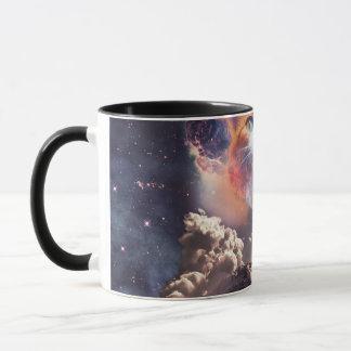 waterfall cat - cat fountain - space cat mug
