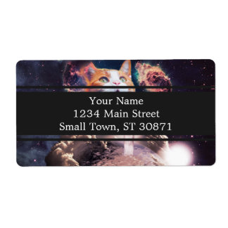 waterfall cat - cat fountain - space cat shipping label
