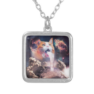 waterfall cat - cat fountain - space cat silver plated necklace