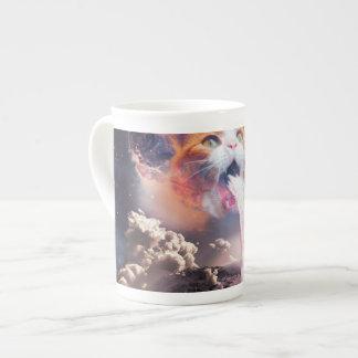 waterfall cat - cat fountain - space cat tea cup